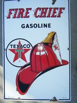 Porcelain Fire Chief Sign in Baytown, Texas