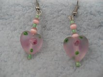 Pink Frost Glass Heart Earring w/Rosebuds in Kingwood, Texas